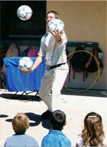 Juggling at a school class party in Atascadero.